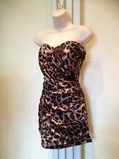 LIPSY Sexy Leopard Bandeau Strapless Satin Silky  Dress Size 12 Ex Con