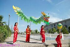 Green 3.1m CHINESE DRAGON DANCE  Folk Festival Costume For 4 children