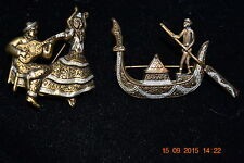 Lot of 2 Vintage Damascene Brooches / Venice Souvenir Gondola / Flamenco Dancer