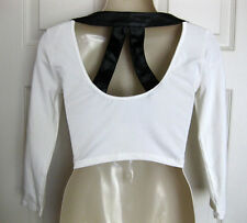 BEBE WHITE CONTRAST LEATHERETTE TEXTURED BACK 3/4 SLEEVE CROP TOP NEW XSMALL XS
