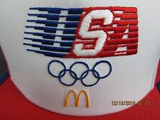 Vintage McDonald's 1984 USA Olympics Rings Snap Back Truckers Cap Red White Hat