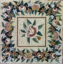 "24""x 24"" Handmade Marble Mosaic Flower  Tile Stone Wall Mural Art Floor Decor"