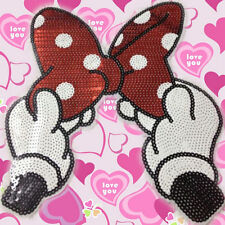 Embroidered Iron On Patches Bowknot Sequins Deal Clothing DIY Applique 25*23 M&C