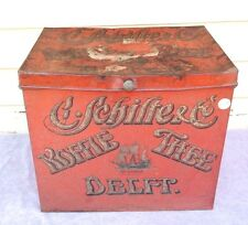 Vintage Large C Schilte & Co KOFFIE THEE Delft Coffe / Tea METAL Tin STORAGE BOX