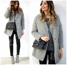 ZARA GREY STRUCTURED COLLARLESS WOOL ALPACA MOHAIR COAT SIZE M - BNWT