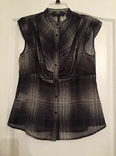 BCBG MAX AZRIA Woman's 100% Silk Sheer Blouse - Black/Comb - Size Medium- NWOT