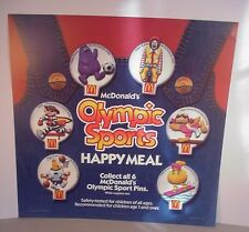 McDonald's 1988 Summer Olympic Happy Meal Store Display Sign pins toys plastic