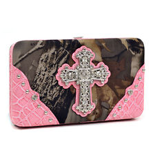 Realtree Camouflage Purse Deep Frame Wallet with Rhinestone Cross Pink Camo