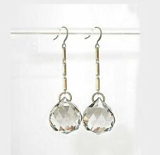 ~~STUNNING HUGE VTG ART DECO FACETED PALE TOPAZ CRYSTAL BALL DROP  EARRINGS!~~