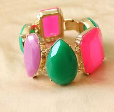 Bracelet Vert Rose Violet Goutte Carré Rond Original Soirée Mariage Cadeau CT2