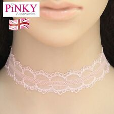 Light Pink Choker Necklace Lace Chain Clasp Gold New UK