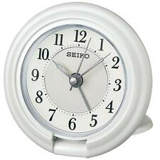 Seiko QHT014W Luminous Travel Alarm Clock with Screen Press Function White - New