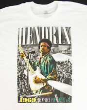 JIMI HENDRIX NEWPORT POP FESTIVAL T-shirt Vintage Rock Tee Adult Med White New