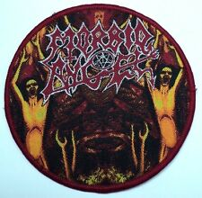 morbid angel round red border  woven patch
