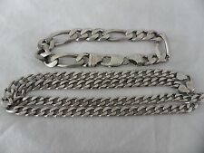 Sterling Silver Necklace Chain Cuban Links And Bracelet 925 Made in Italy 1990s