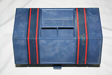 Vintage Blue Roly Kit Roll-Up Storage Box S-11 1970s Crafts Fishing Sewing RV