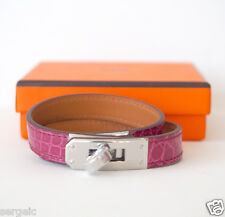 New HERMES Kelly Double Tour ROSE SCHEHERAZADE Pink Silver S Bracelet KDT