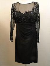 New Patra Floral Embellished Mesh Sleeve Dress 13382 /Black /14.