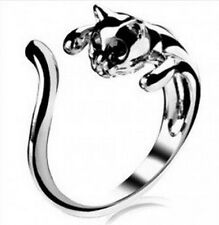 Cute Silver Cat Ring With Black Eyes Adjustable Size Rhinestone Kitten UK