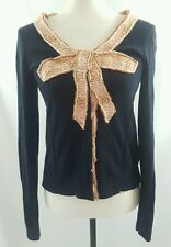 Moth Anthropologie Women's Navy Blue Peach Bow Buttoned Cardigan Sweater Small