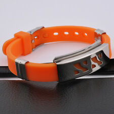Unisex Men Stainless Steel Rubber Silicone Bracelet Orange Adjustable Size G7