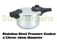 19cm / 4L Stainless Steel Kitchen Pressure Cooker Strong Handles  4 L Induction