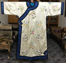 Antique Chinese Silk Robe Roundals Embroidered With Sleeve Bands