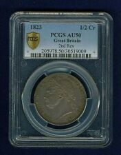 GREAT BRITAIN GEORGE IIII  1823  HALF-CROWN SILVER COIN, CERTIFIED PCGS AU-50