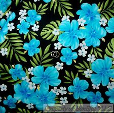 BonEful FABRIC FQ Cotton Quilt VTG Black Blue Green White Flower Leaf Watercolor