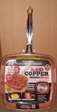 "NEW AS SEEN ON TV RED COPPER SQUARE DANCE PAN 9.5"" NON STICK CERAMIC OVEN SAFE"