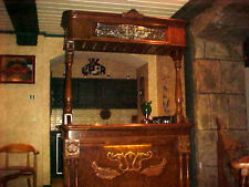 HOME PUB BAR TIGER OAK WITH GRANITE SERVICE AND CANOPY TOP AND 2 SWIVAL CHAIRS