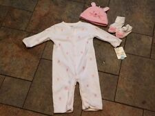 NWT Carter's White 4 Pc Romper Pink Bunnies Rabbits Booties Hat 3 6 mo
