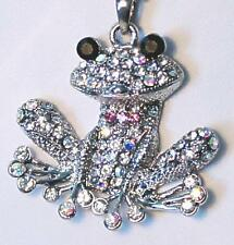 Jumping Frog Pendant Necklace Paved with Sparkling Crystals Ball Chain