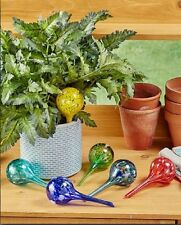 Glass Watering Globes Set of 6 Speckled Colors Makes Your Plants Self Watering