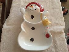 Ceramic divided Christmas snowman dish