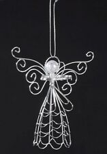 SILVER METAL WIRE ANGEL w/ PEARL BEAD HEAD HOLDING HEART CHRISTMAS TREE ORNAMENT