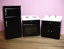 Dollhouse Miniature Black 3 Piece Kitchen Set Doll House Furniture