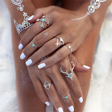 7Pcs/Set Women Stack Plain Above Knuckle Ring Boho Silver Midi Finger Tip Rings