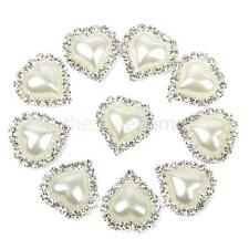 10pcs Rhinestone Diamante Button Heart Pearl Flat Back Wedding Embellishment
