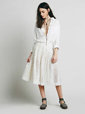 120966 New $198 Free People FP One Lazer Cut Lemon Cotton Skirt Small S