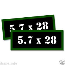 """5.7 X 28 Ammo Can 2x Labels Ammunition Case 3""""x1.15"""" stickers decals 2 pack"""