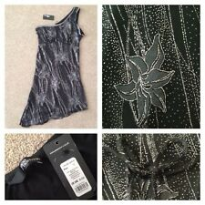 Black Mini Dress Silver Floral Glittery Micro Mini Asymetric Jane Norman BNWT
