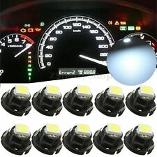 10pcs T5 White Dashboard Gauge 5050 1 SMD LED Wedge Instrument Panel Light Bulb