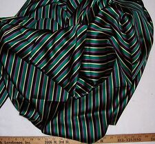 STRIPPED SATIN Green Pink Black Vest Lining, Tie or Pajamas Fabric By the Yard