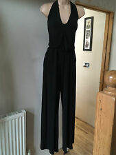 Bnwt Wallis Black Halterneck Jumpsuit with Wide Leg Palazzo Trousers Size 14