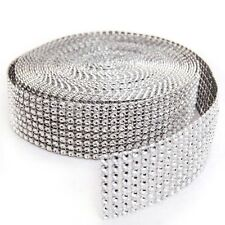 "1.5""x10 Yards 8 Rows Silver DIAMOND MESH WRAP ROLL SPARKLE RHINESTONE Ribbon"