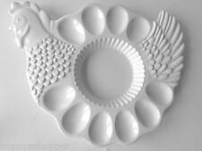 Easter Ceramic 10 Deviled Egg Platter Tray Combo Chicken Hen All White New 13x12