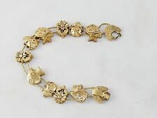 Charm Bracelet,  ~ Mushrooms & Flowers TOFA Classic Slider, Gold Toned #5430510