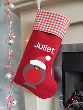 Personalised Name Luxury Robin Christmas Stocking Red, Lined - Handmade in UK