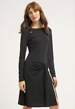 NWT MICHAEL KORS Longsleeve Faux Wrap Pleats Front Little BLACK Dress Sz M,$185